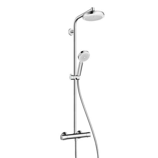 Hansgrohe Crometta 160 1jet Showerpipe termosztátos zuhanyrendszer, fehér/Króm, 27264400