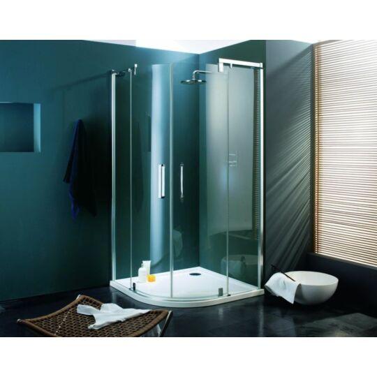 Hüppe Refresh pure 1/4 íves nyílóajtóval fix részekkel 2-szárnyú 90x90cm mattezüst világos üveg