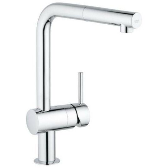 Grohe Minta mosogató csaptelep, elfordítható kifolyócsővel, kihúzható zuhanyfejjel, króm, 32168000