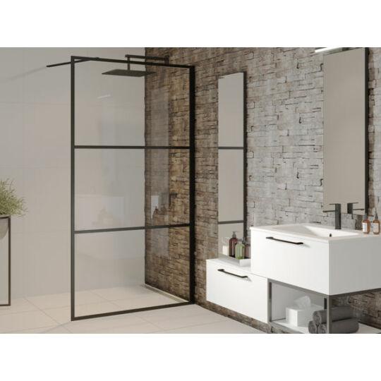 Riho Grid GB400 zuhanyfal, matt fekete kerettel, biztonsági üveggel, 100x100cm, GB4100000
